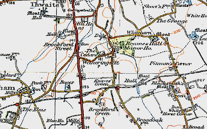 Old map of Wetheringsett in 1921