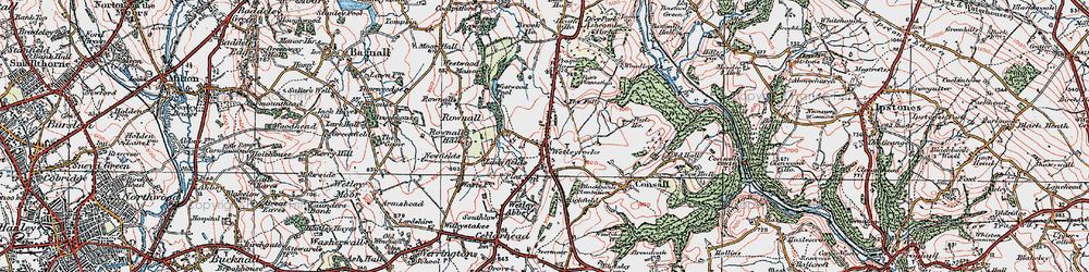 Old map of Wetley Rocks in 1921