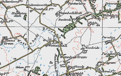Old map of Wettenhall in 1923