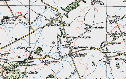 Old map of Wettenhall Green in 1923