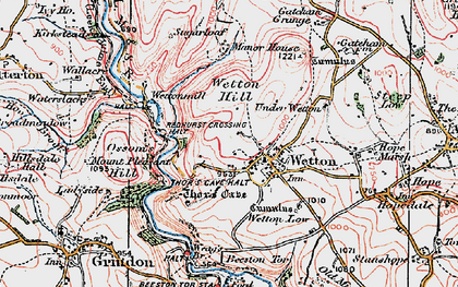 Old map of Wetton Hill in 1923