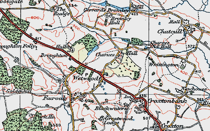 Old map of Wetwood in 1921