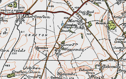 Old map of Wexcombe Down in 1919