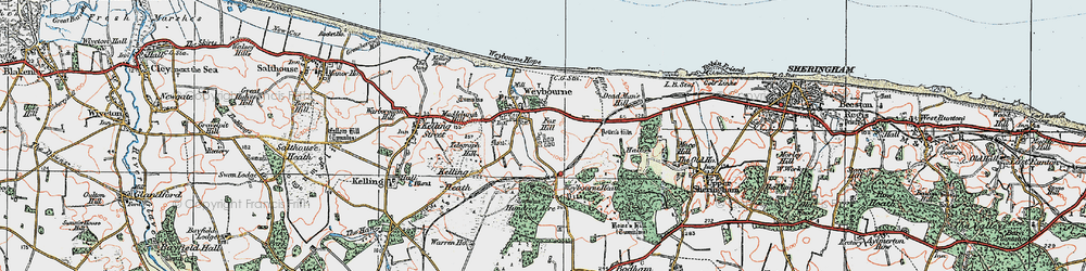 Old map of Weybourne Hope in 1922