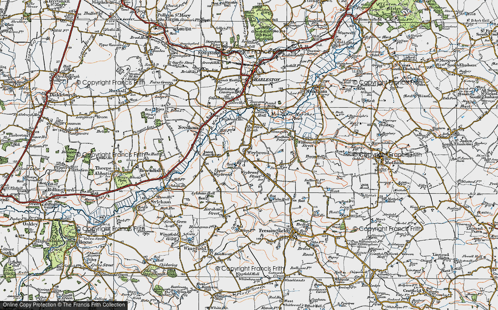 Old Map of Weybread, 1921 in 1921