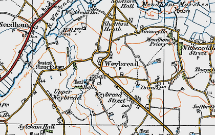 Old map of Weybread in 1921