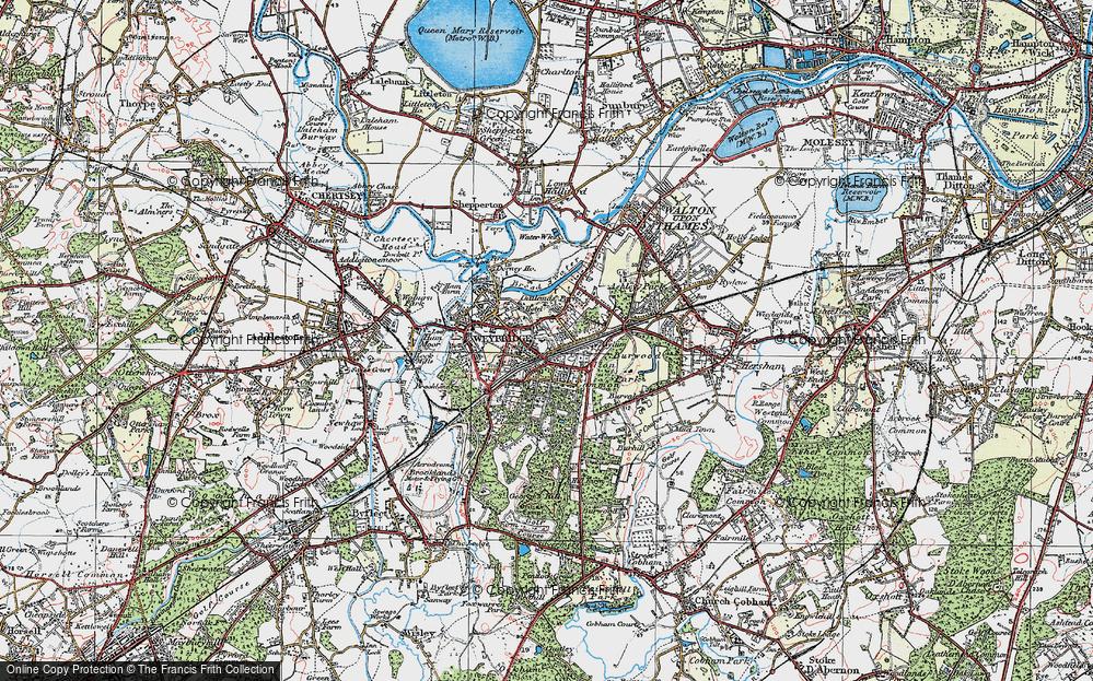 Old Map of Weybridge, 1920 in 1920