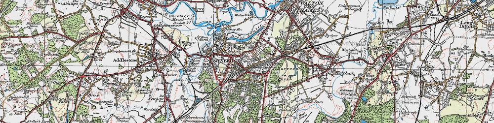 Old map of Weybridge in 1920