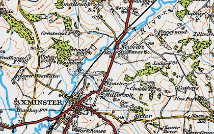 Old map of Weycroft in 1919