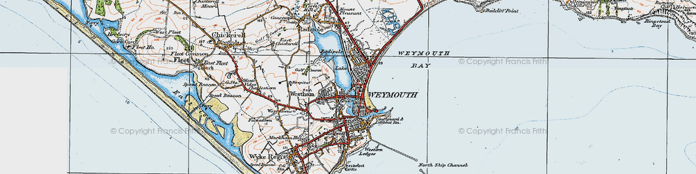 Old map of Weymouth in 1919