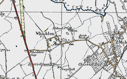 Old map of Whaddon in 1920