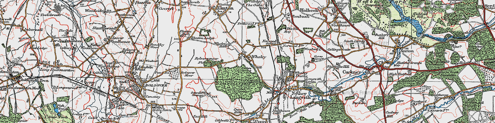 Old map of Whaley Common in 1923