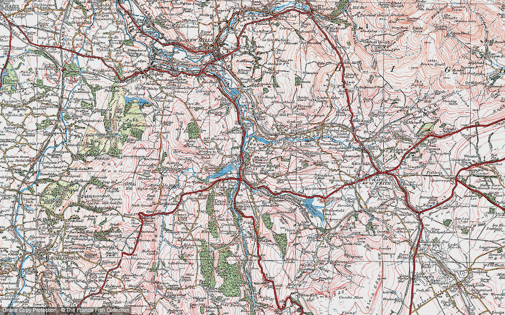 Old Map of Whaley Bridge, 1923 in 1923