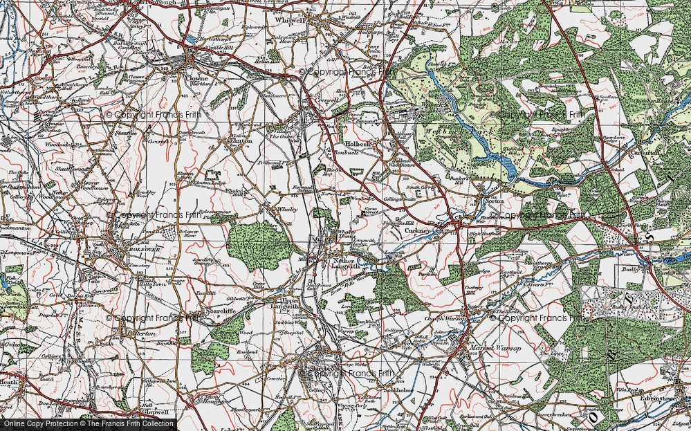 Old Map of Whaley Thorns, 1923 in 1923
