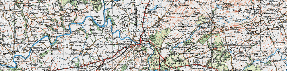 Old map of Whalley in 1924