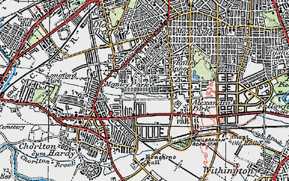 Old map of Whalley Range in 1924