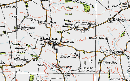 Old map of Whalton in 1925