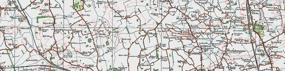 Old map of Wharles in 1924