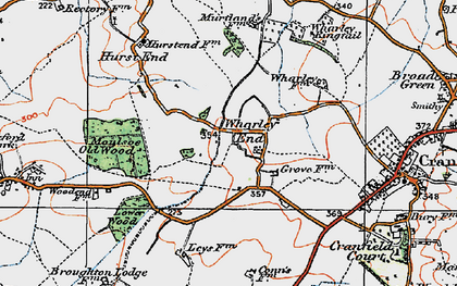 Old map of Wharley End in 1919
