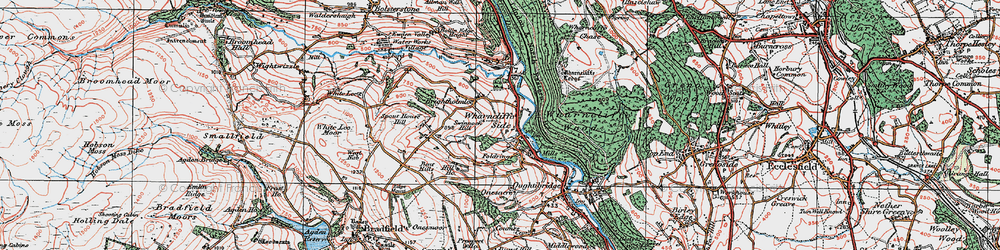 Old map of Wharncliffe Side in 1924