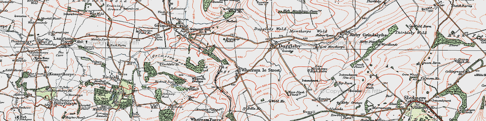 Old map of Wharram le Street in 1924