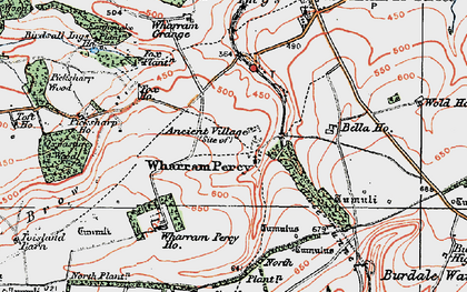 Old map of Wharram Percy Village in 1924
