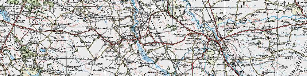 Old map of Wharton in 1923