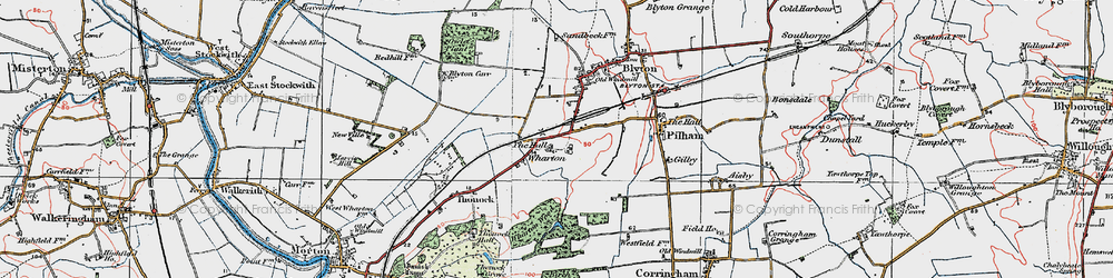 Old map of Wharton Wood in 1923