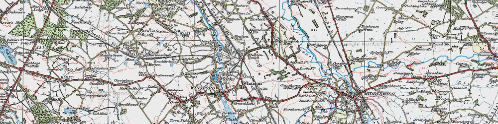 Old map of Wharton Green in 1923