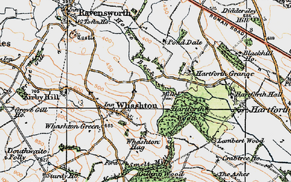 Old map of Whashton Hag in 1925