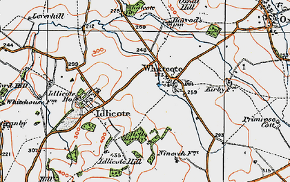Old map of Whatcote in 1919