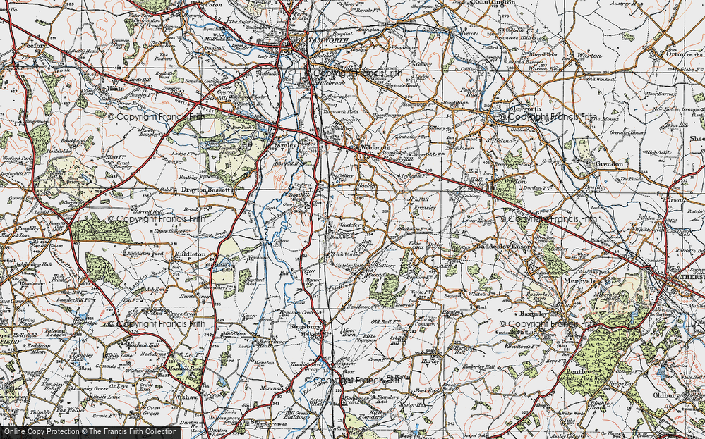 Old Map of Whateley, 1921 in 1921