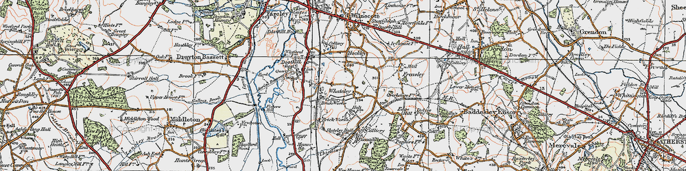Old map of Whateley in 1921