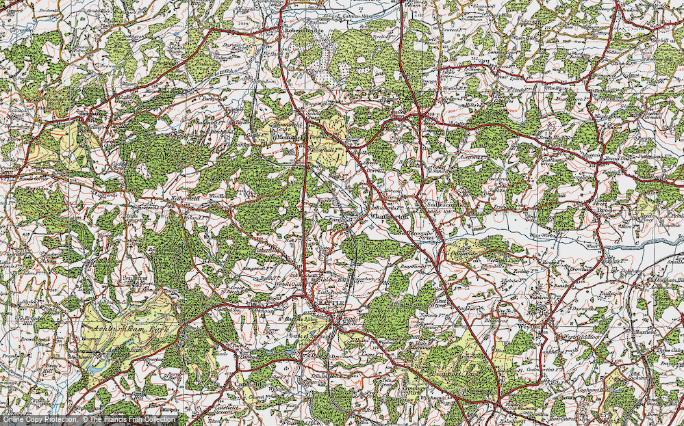Old Map of Historic Map covering Wood's Place in 1921