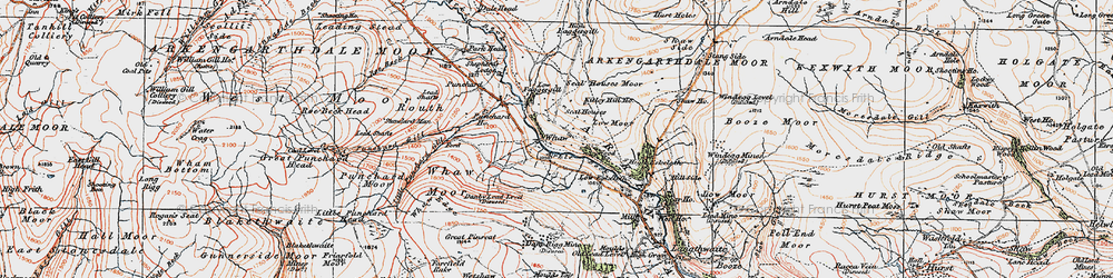 Old map of Whetshaw Bottom in 1925