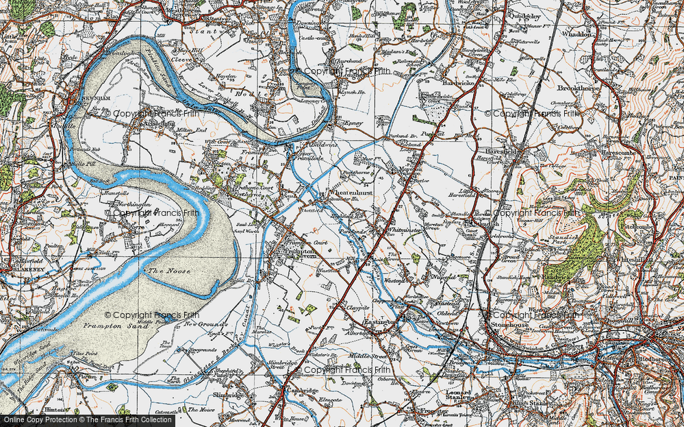 Old Map of Historic Map covering Whitminster Ho in 1919
