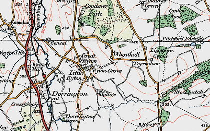 Old map of Lightgreen Coppice in 1921