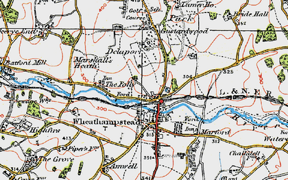 Old map of Wheathampstead in 1920