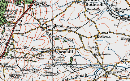Old map of Wheathill Brook in 1921