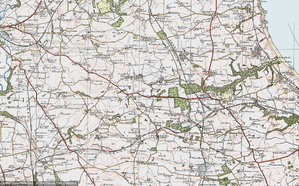 Old Map of Wheatley Hill, 1925 in 1925