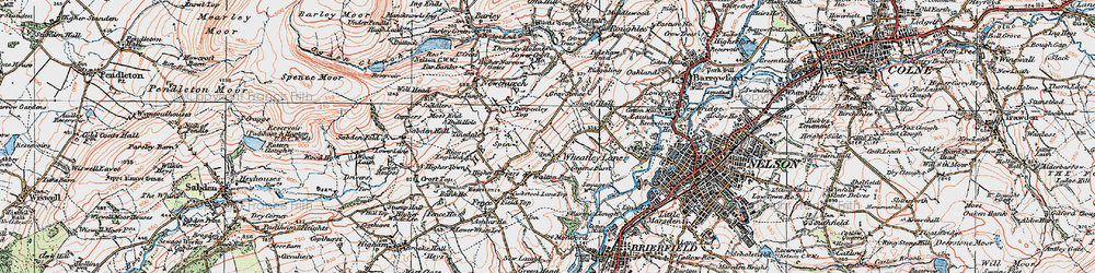 Old map of Wheatley Lane in 1924