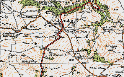Old map of Wheddon Cross in 1919