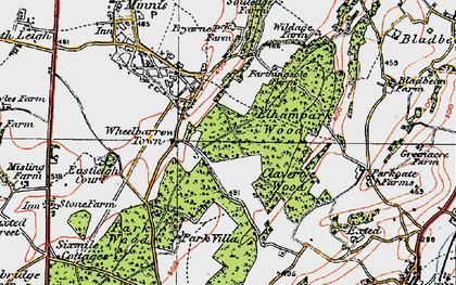 Old map of Wheelbarrow Town in 1920