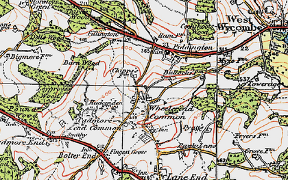 Old map of Wheeler End in 1919