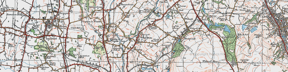 Old map of Wheelton in 1924