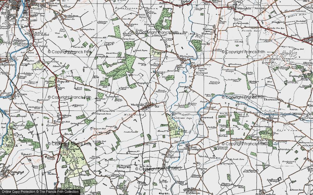 Old Map of Historic Map covering Wheldrake Grange in 1924