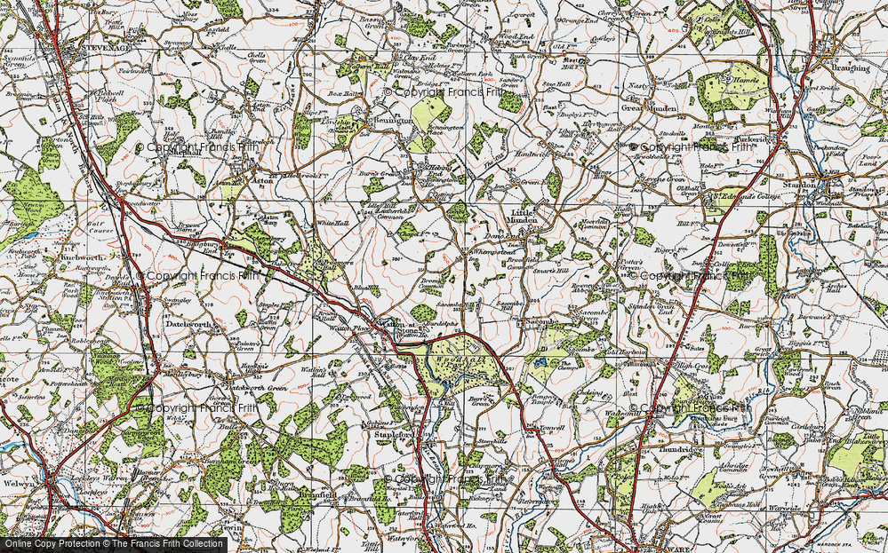 Old Map of Whempstead, 1919 in 1919