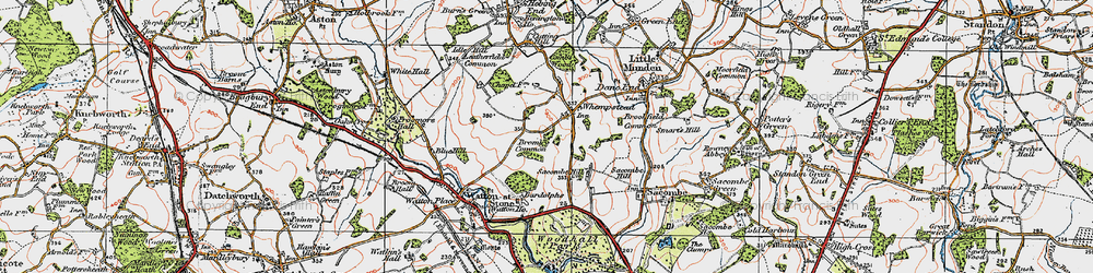 Old map of Whempstead in 1919