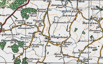 Old map of Whepstead in 1921