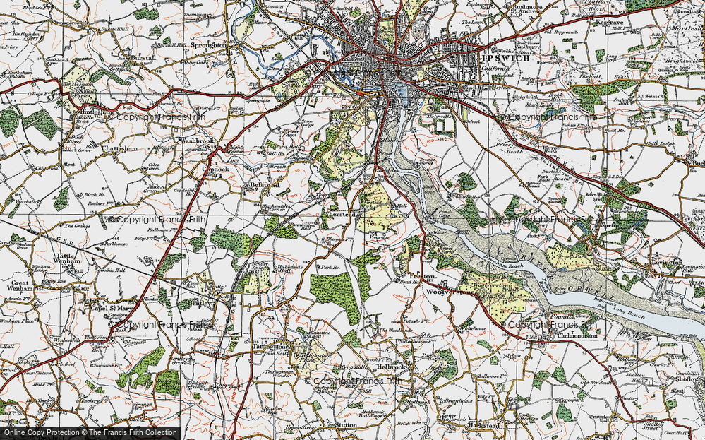 Old Map of Historic Map covering Wherstead Park in 1921